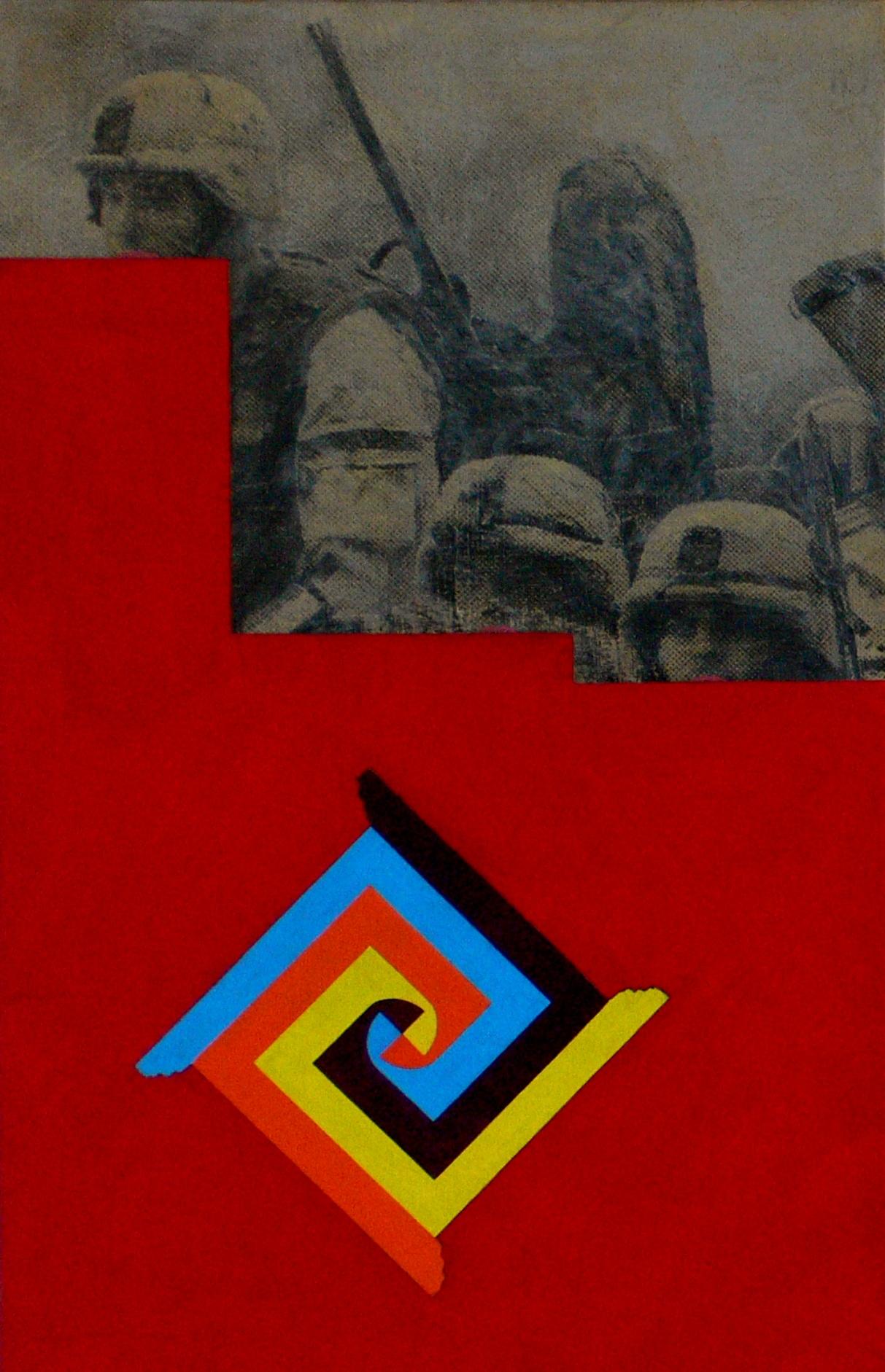 - Guerra e meditazione - cm 100 x 64 tecnica olio e stampa su carta intelata, anno 2009.